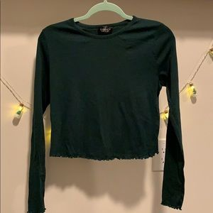 Topshop forest green long sleeve tee